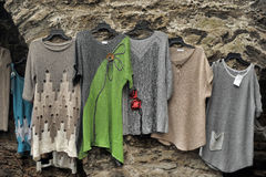 Woolen hand knitted clothes in Tallinn,Estonia Stock Photo