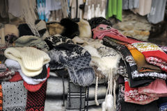 Woolen hand knitted clothes in Tallinn,Estonia Royalty Free Stock Photo