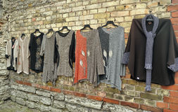 Woolen hand knitted clothes in Tallinn,Estonia Stock Images