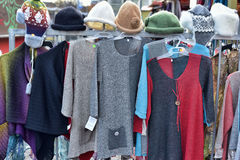 Woolen hand knitted clothes in Tallinn,Estonia Royalty Free Stock Photography