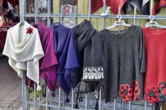 Woolen hand knitted clothes in Tallinn,Estonia Royalty Free Stock Images