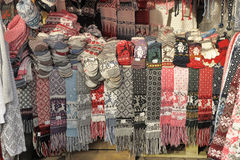 Woolen hand knitted clothes in Tallinn,Estonia Royalty Free Stock Photos