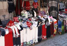 Woolen hand knitted clothing and accessories in Tallinn, Estonia  Royalty Free Stock Photography