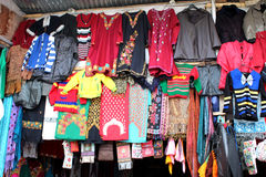Woolen hand knitted clothing and accessories in Kashmir, India. Winter is approaching rapidly. All need to get protected from winter bites. So everyone is in Stock Image