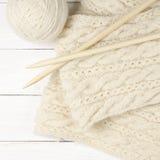 Woolen handarbete på trä Arkivbild