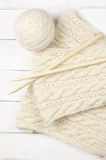 Woolen handarbete på trä royaltyfri fotografi