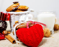 Woolen heart Stock Image
