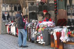 Woolen hand knitted handicrafts for sale,Tallinn (Unesco), Estonia Royalty Free Stock Photo
