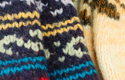 Woolen knitted socks handmade the background winter warm Royalty Free Stock Images