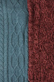 Woolen knitting background. Green and marsala knitting textures Stock Photography