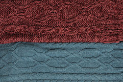 Woolen knitting background. Green and marsala knitting textures Royalty Free Stock Images