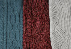 Woolen knitting background. Green, marsala and white knitting textures Stock Image