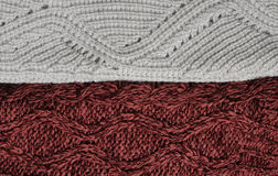 Woolen knitting background. Marsala and white knitting textures Royalty Free Stock Photography