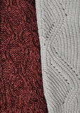 Woolen knitting background. Marsala and white knitting textures Royalty Free Stock Images