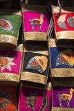 Woolen and leather colored bags hanging at market of Cusco, Peru Royalty Free Stock Photo