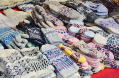 Woolen mittens at russian market Royalty Free Stock Photo
