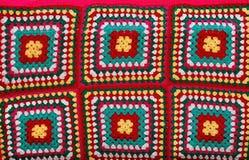woolen multicolor textur för bakgrundstygrät maska Arkivfoton