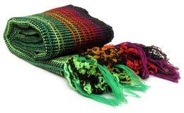 Woolen  neckerchief. Closeup of woolen neckerchief over white background Royalty Free Stock Photo