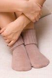 Woolen nette Socken Lizenzfreie Stockbilder