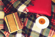 Woolen plaid, cup of tea, old books, red pillow on wooden background. Top view. Toned Stock Image