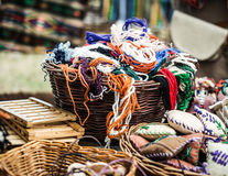 Woolen przędza w koszach Zdjęcia Royalty Free