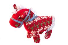 Woolen Red Horse. Home and Christmas decoration royalty free stock photos