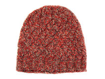 Woolen red-yellow knit cap. Royalty Free Stock Photography