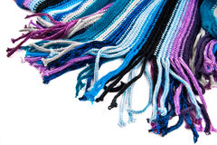 Woolen scarf. A striped multicolored woolen scarf Stock Image
