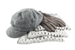 Woolen scarf, cap and gloves isolated on white background Royalty Free Stock Photography