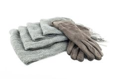 Woolen scarf and gloves isolated on white background Royalty Free Stock Photography