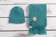 Woolen scarf and hat. Stock Image