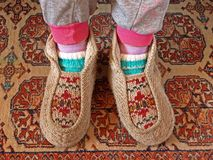 Woolen slippers stock images