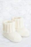 Woolen socks for newborn. Babies first woolen socks / footwear Stock Photo