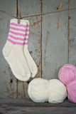 Woolen socks in vintage setting Royalty Free Stock Images