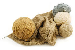 Woolen threads. Hank (bobbin) of woolen threads on a white background Stock Photo