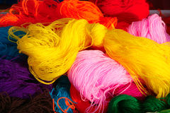 Woolen yarn. The close-up of woolen yarn Stock Images