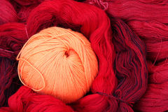 Woolen yarn ball. The close-up of woolen yarn ball stock photo