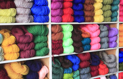 Woolen yarn. Selection of colorful yarn wool on display in a shop, amoy city, china royalty free stock image