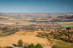 Wooler Town from Humbleton Hill. Wooler is a small market town in Northumberland, England and lies at the edge of Northumberland National Park in the foothills Royalty Free Stock Image