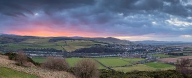 Sunset Panorama over the Cheviots and Glendale Stock Photos