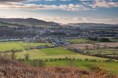 Wooler Town in Foothills of the Cheviots. Wooler is a small market town in Northumberland, England and lies at the edge of Northumberland National Park in the Royalty Free Stock Images