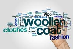 Woollen coat word cloud Stock Photos