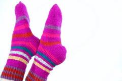 Woollen hand-made sockor Arkivfoton