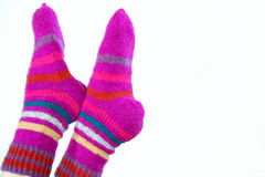 Woollen hand-made socks Stock Photos