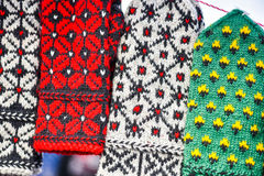 Woollen mitts in the famous handicraft mart Kaziukas, Vilnius, Lithuania Royalty Free Stock Photos