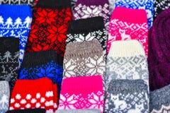 Woollen mitts in the famous handicraft mart Kaziukas, Vilnius, Lithuania Stock Photo