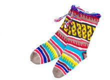 Woollen stockings. Pair of wonderfully vibrant woolen stockings as a cut out Stock Photography