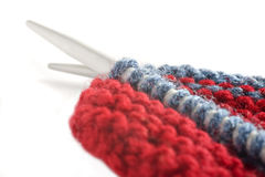 Woollen thread and knitting needle. Stock Images