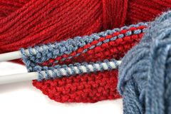 Woollen thread and knitting needle. Stock Photo