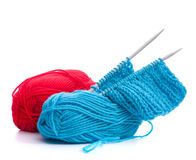 Woollen thread and knitting needle Stock Photos